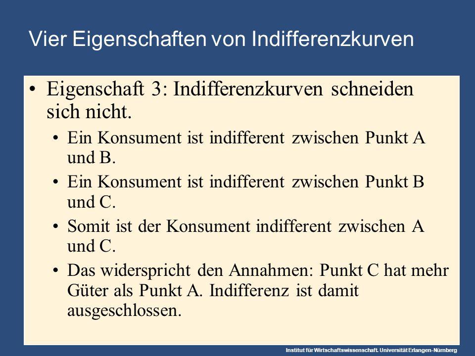 Institut für Wirtschaftswissenschaft. Universität Erlangen-Nürnberg Vier Eigenschaften von Indifferenzkurven Eigenschaft 3: Indifferenzkurven schneide