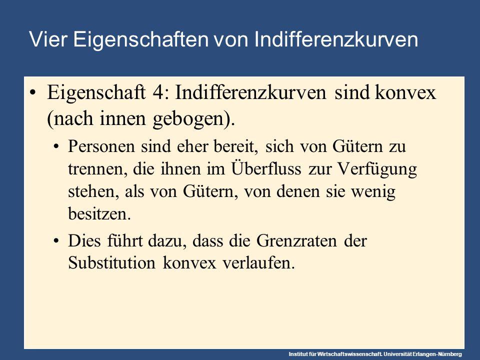 Institut für Wirtschaftswissenschaft. Universität Erlangen-Nürnberg Vier Eigenschaften von Indifferenzkurven Eigenschaft 4: Indifferenzkurven sind kon