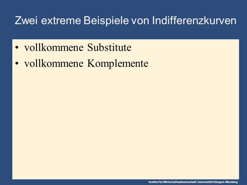 Institut für Wirtschaftswissenschaft. Universität Erlangen-Nürnberg Zwei extreme Beispiele von Indifferenzkurven vollkommene Substitute vollkommene Ko