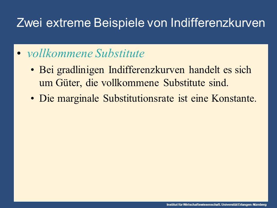 Institut für Wirtschaftswissenschaft. Universität Erlangen-Nürnberg Zwei extreme Beispiele von Indifferenzkurven vollkommene Substitute Bei gradlinige