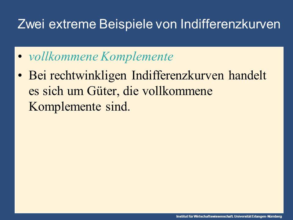 Institut für Wirtschaftswissenschaft. Universität Erlangen-Nürnberg Zwei extreme Beispiele von Indifferenzkurven vollkommene Komplemente Bei rechtwink