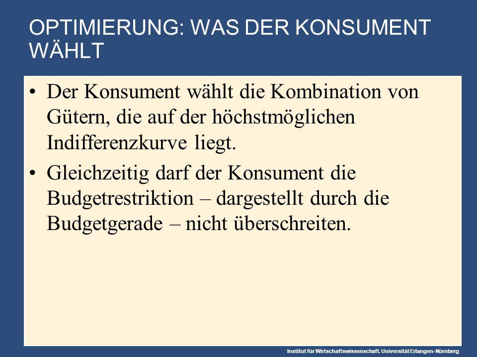 Institut für Wirtschaftswissenschaft. Universität Erlangen-Nürnberg OPTIMIERUNG: WAS DER KONSUMENT WÄHLT Der Konsument wählt die Kombination von Güter