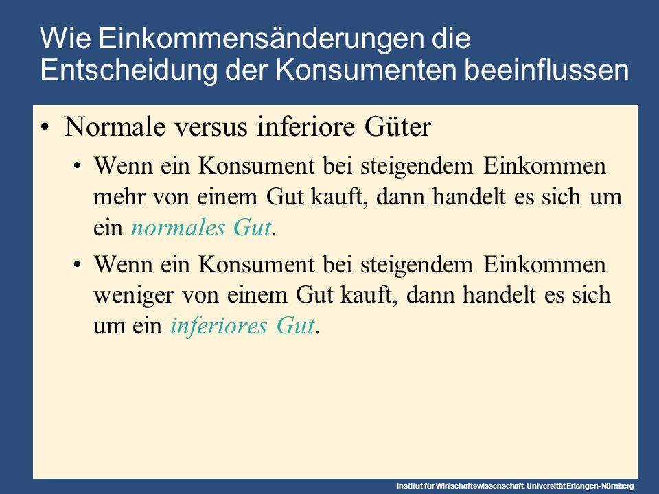 Institut für Wirtschaftswissenschaft. Universität Erlangen-Nürnberg Wie Einkommensänderungen die Entscheidung der Konsumenten beeinflussen Normale ver