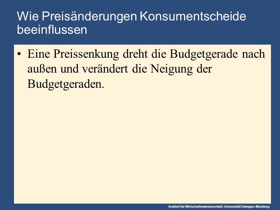 Institut für Wirtschaftswissenschaft. Universität Erlangen-Nürnberg Wie Preisänderungen Konsumentscheide beeinflussen Eine Preissenkung dreht die Budg