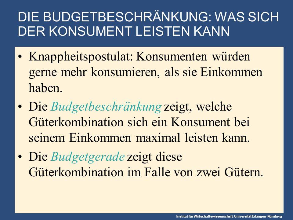 Institut für Wirtschaftswissenschaft. Universität Erlangen-Nürnberg DIE BUDGETBESCHRÄNKUNG: WAS SICH DER KONSUMENT LEISTEN KANN Knappheitspostulat: Ko