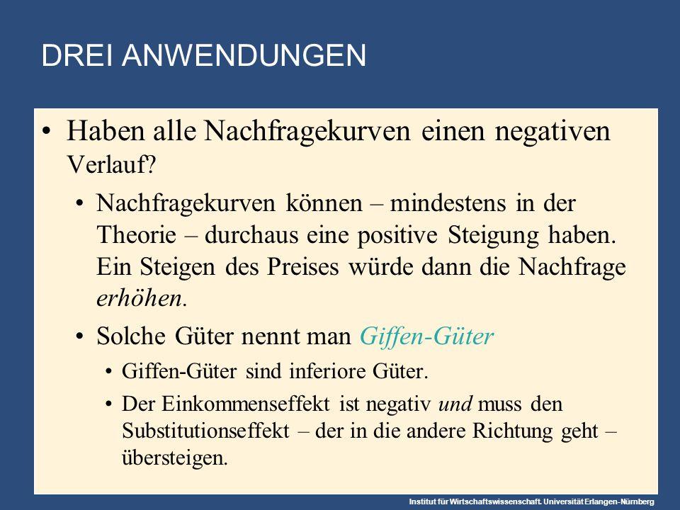 Institut für Wirtschaftswissenschaft. Universität Erlangen-Nürnberg DREI ANWENDUNGEN Haben alle Nachfragekurven einen negativen Verlauf? Nachfragekurv