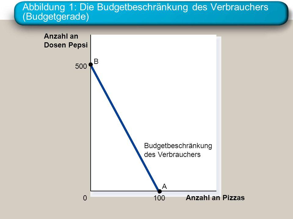 Abbildung 1: Die Budgetbeschränkung des Verbrauchers (Budgetgerade) Anzahl an Pizzas Anzahl an Dosen Pepsi 0 Budgetbeschränkung des Verbrauchers 500 B