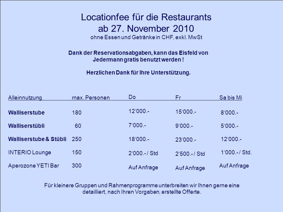 Locationfee für die Restaurants ab 27. November 2010 ohne Essen und Getränke in CHF, exkl.