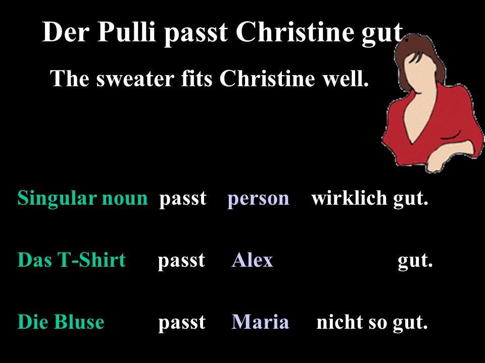 Singular noun passt person wirklich gut. Das T-Shirt passt Alex gut.