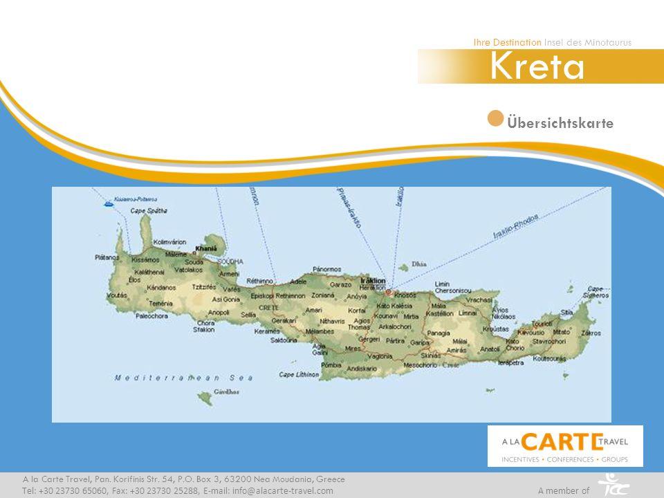Übersichtskarte A la Carte Travel, Pan. Korifinis Str. 54, P.O. Box 3, 63200 Nea Moudania, Greece Tel: +30 23730 65060, Fax: +30 23730 25288, E-mail: