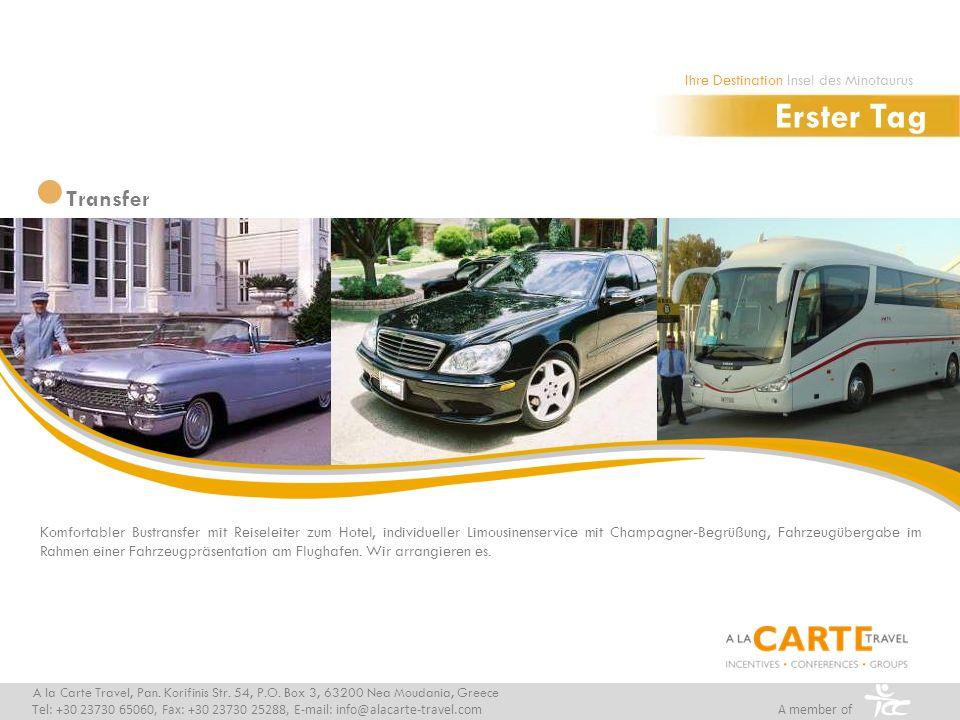 Komfortabler Bustransfer mit Reiseleiter zum Hotel, individueller Limousinenservice mit Champagner-Begrüßung, Fahrzeugübergabe im Rahmen einer Fahrzeu
