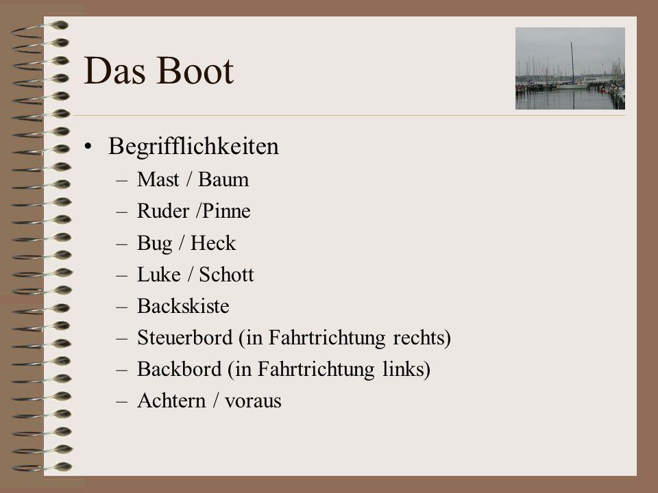 Das Boot Begrifflickeiten –Reeling –Winsch –Klampe –Fock/Genua/Großsegel –Fall / Großschot / Fockschot / Dirk –Saling / Vorstag / Babystag / Achterstag –Verklicker