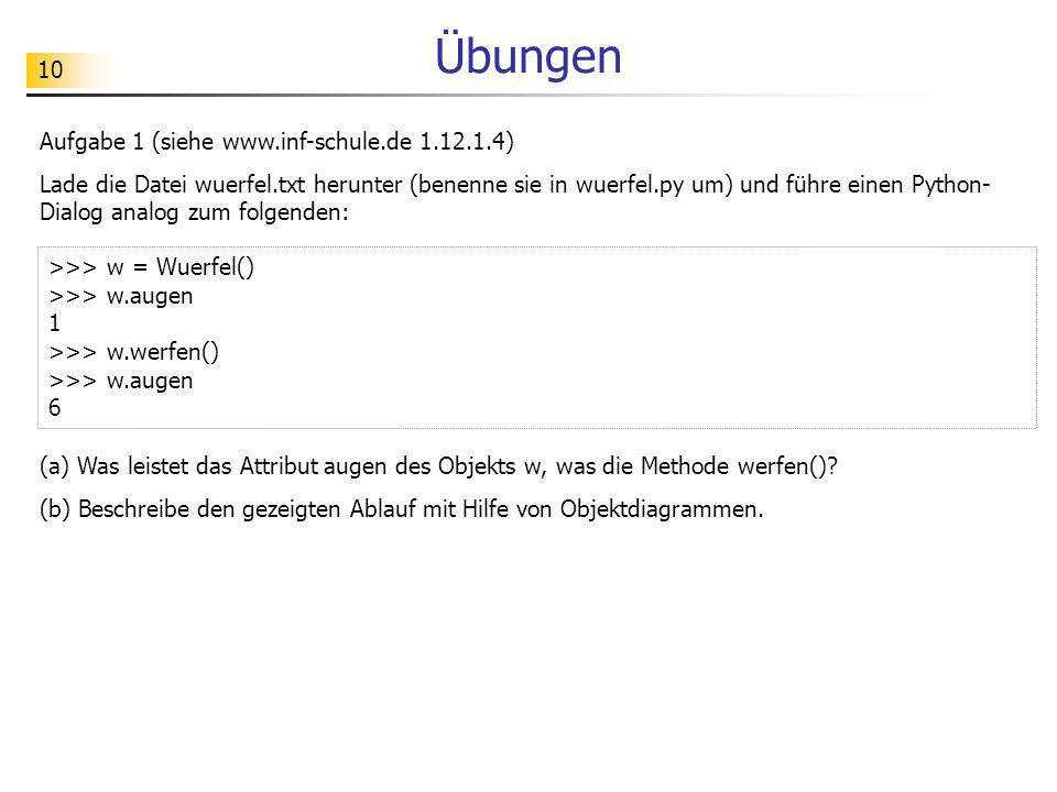 10 Übungen Aufgabe 1 (siehe www.inf-schule.de 1.12.1.4) Lade die Datei wuerfel.txt herunter (benenne sie in wuerfel.py um) und führe einen Python- Dia