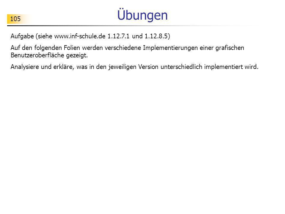 105 Übungen Aufgabe (siehe www.inf-schule.de 1.12.7.1 und 1.12.8.5) Auf den folgenden Folien werden verschiedene Implementierungen einer grafischen Be