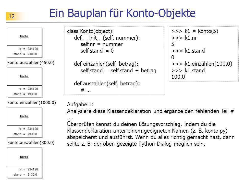 12 Ein Bauplan für Konto-Objekte class Konto(object): def __init__(self, nummer): self.nr = nummer self.stand = 0 def einzahlen(self, betrag): self.st