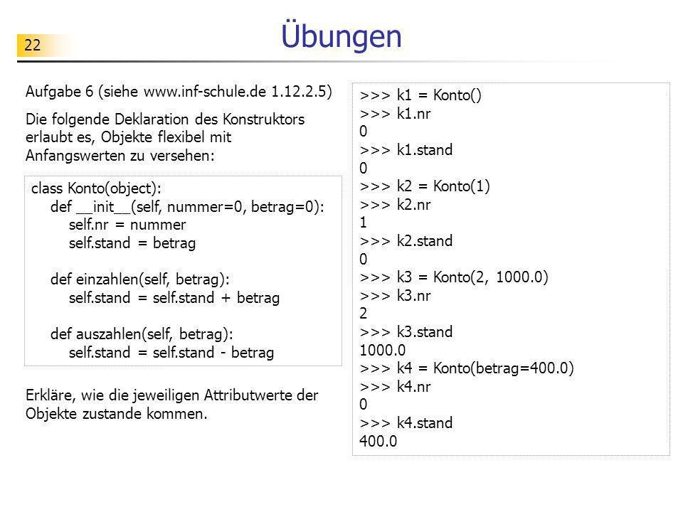 22 Übungen Aufgabe 6 (siehe www.inf-schule.de 1.12.2.5) Die folgende Deklaration des Konstruktors erlaubt es, Objekte flexibel mit Anfangswerten zu ve