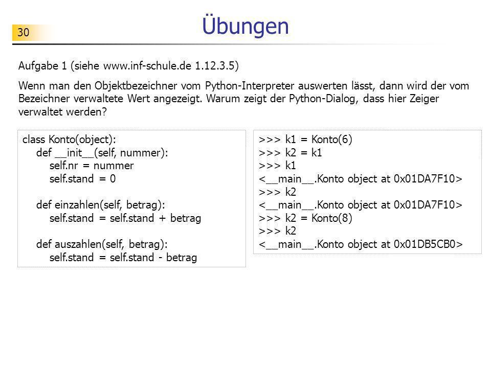 30 Übungen Aufgabe 1 (siehe www.inf-schule.de 1.12.3.5) Wenn man den Objektbezeichner vom Python-Interpreter auswerten lässt, dann wird der vom Bezeic