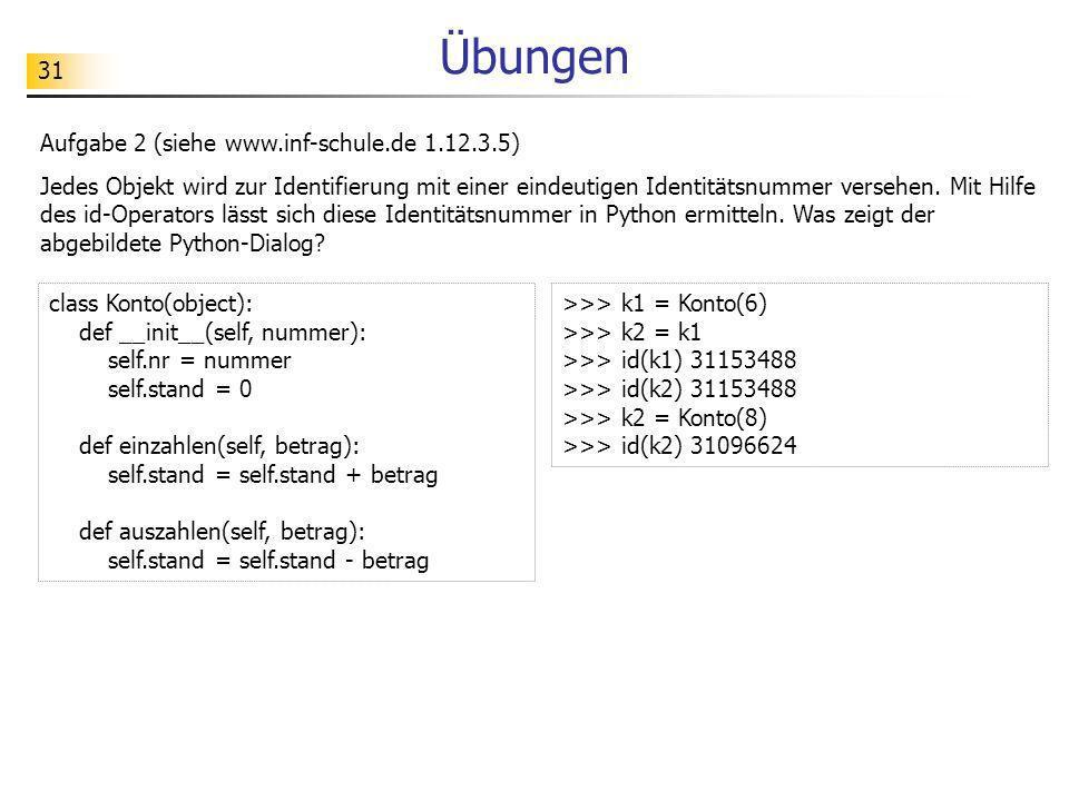 31 Übungen Aufgabe 2 (siehe www.inf-schule.de 1.12.3.5) Jedes Objekt wird zur Identifierung mit einer eindeutigen Identitätsnummer versehen. Mit Hilfe