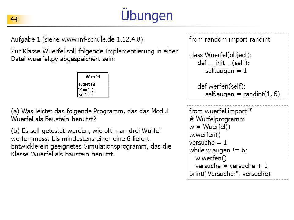44 Übungen Aufgabe 1 (siehe www.inf-schule.de 1.12.4.8) Zur Klasse Wuerfel soll folgende Implementierung in einer Datei wuerfel.py abgespeichert sein: