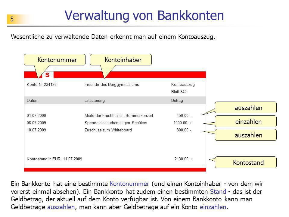 5 Verwaltung von Bankkonten Wesentliche zu verwaltende Daten erkennt man auf einem Kontoauszug. S Konto-Nr.234126Freunde des BurggymnasiumsKontoauszug