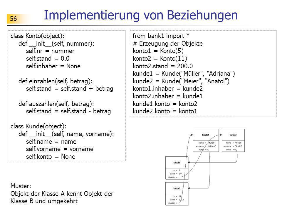 56 Implementierung von Beziehungen Muster: Objekt der Klasse A kennt Objekt der Klasse B und umgekehrt class Konto(object): def __init__(self, nummer)