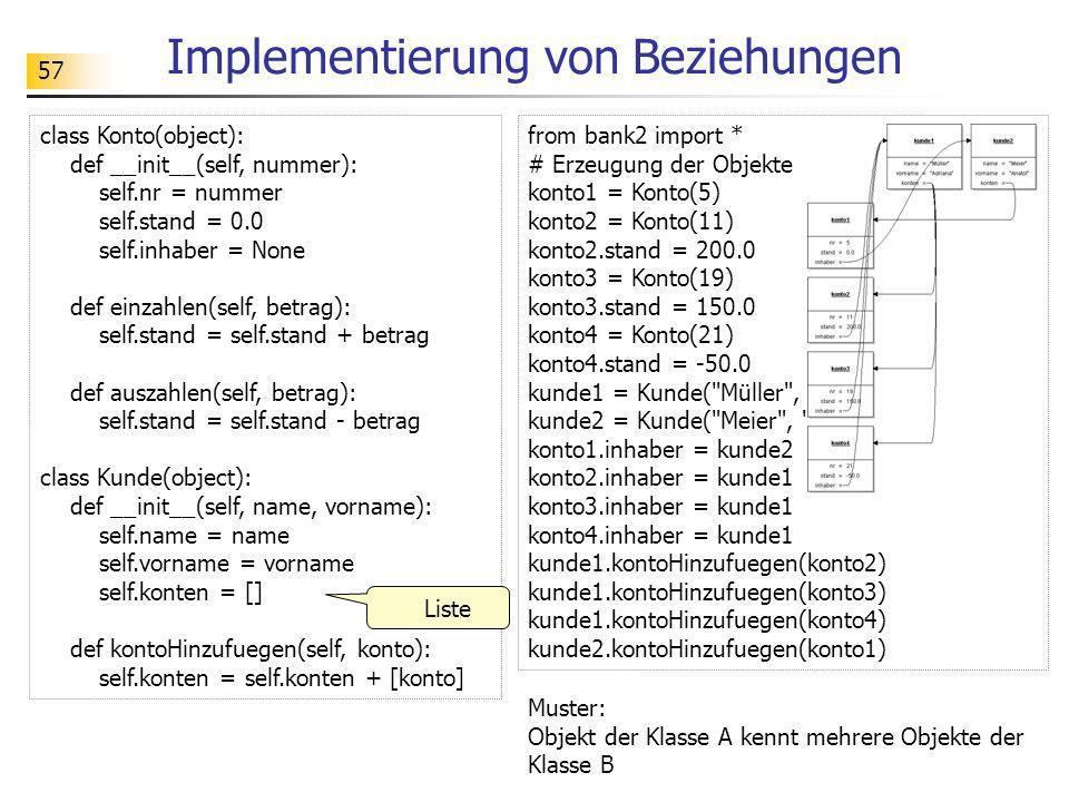 57 Implementierung von Beziehungen Muster: Objekt der Klasse A kennt mehrere Objekte der Klasse B class Konto(object): def __init__(self, nummer): sel