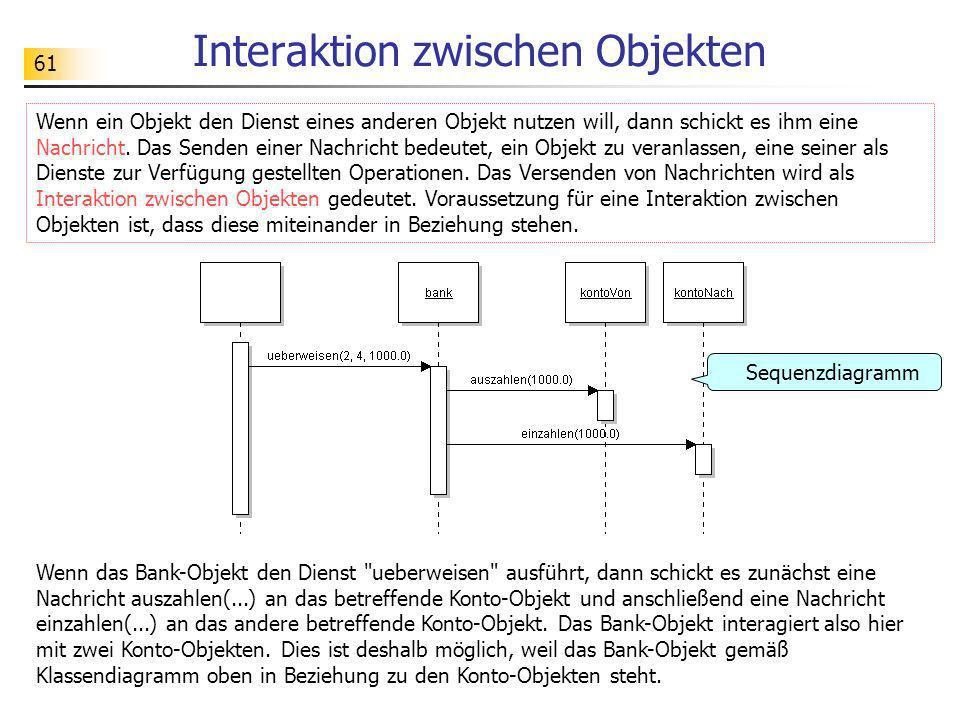 61 Interaktion zwischen Objekten Wenn ein Objekt den Dienst eines anderen Objekt nutzen will, dann schickt es ihm eine Nachricht. Das Senden einer Nac
