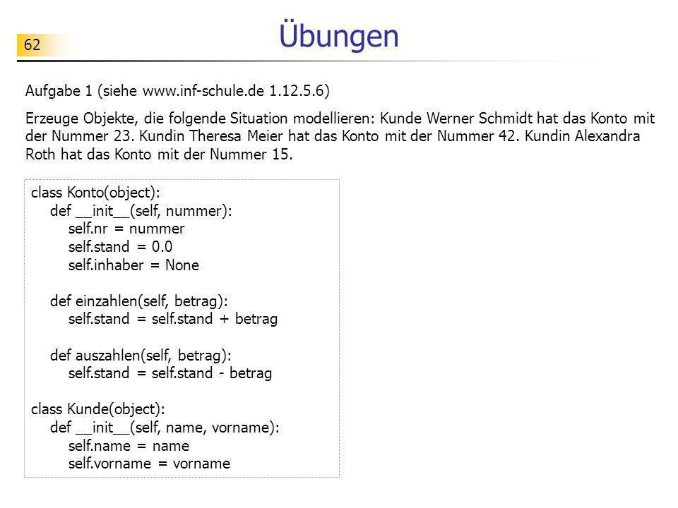 62 Übungen Aufgabe 1 (siehe www.inf-schule.de 1.12.5.6) Erzeuge Objekte, die folgende Situation modellieren: Kunde Werner Schmidt hat das Konto mit de