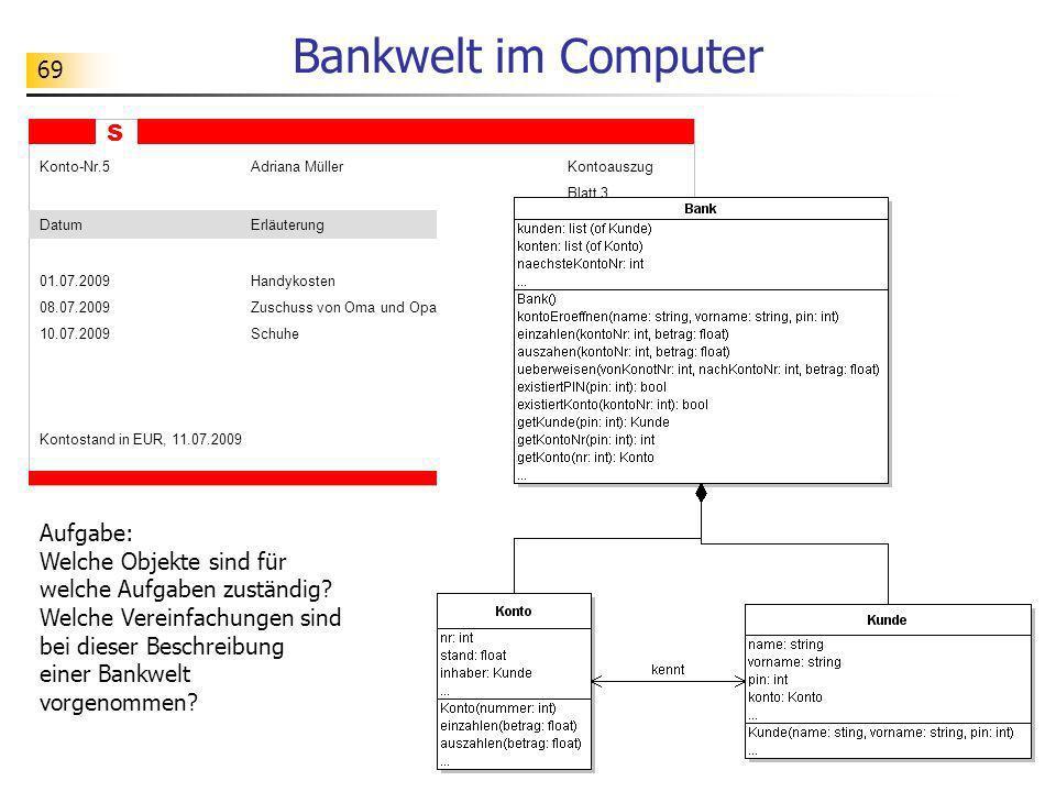 69 Bankwelt im Computer S Konto-Nr.5Adriana MüllerKontoauszug Blatt 3 DatumErläuterungBetrag 01.07.2009Handykosten 45.00 - 08.07.2009Zuschuss von Oma