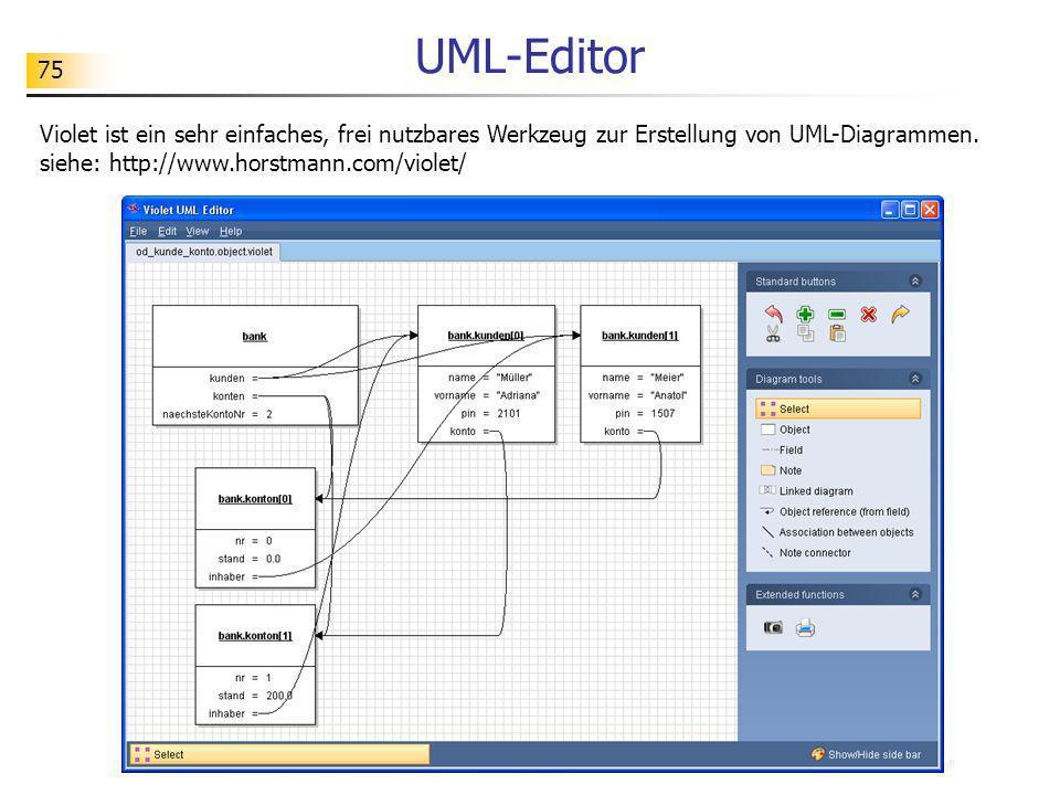 75 UML-Editor Violet ist ein sehr einfaches, frei nutzbares Werkzeug zur Erstellung von UML-Diagrammen. siehe: http://www.horstmann.com/violet/