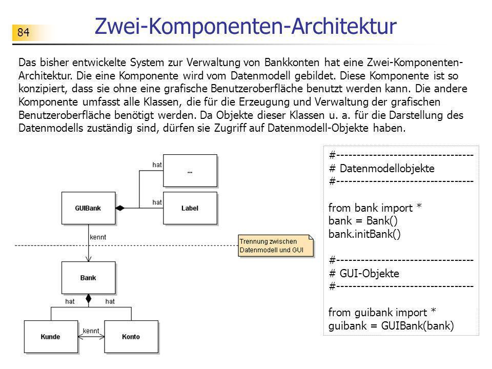 84 Zwei-Komponenten-Architektur #---------------------------------- # Datenmodellobjekte #---------------------------------- from bank import * bank =