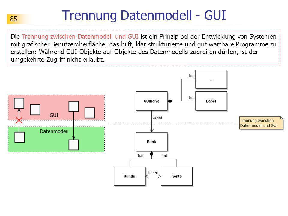 85 Trennung Datenmodell - GUI Die Trennung zwischen Datenmodell und GUI ist ein Prinzip bei der Entwicklung von Systemen mit grafischer Benutzeroberfl