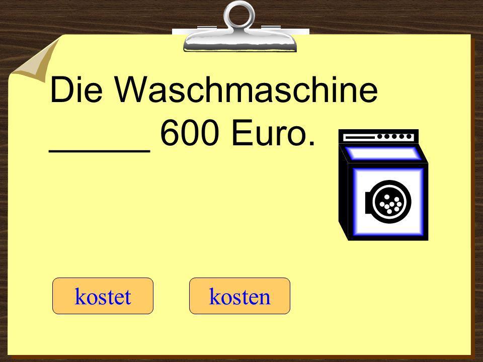 Die Waschmaschine _____ 600 Euro. kostetkosten