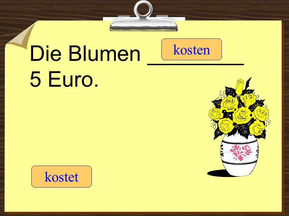 Die Blumen ________ 5 Euro. kostet kosten