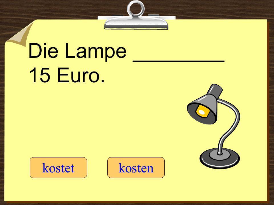 Die Lampe ________ 15 Euro. kostetkosten
