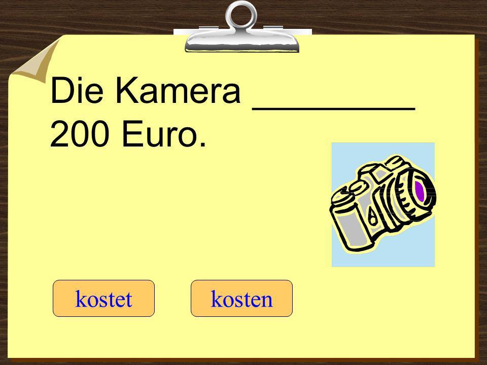 Die Kamera ________ 200 Euro. kostetkosten