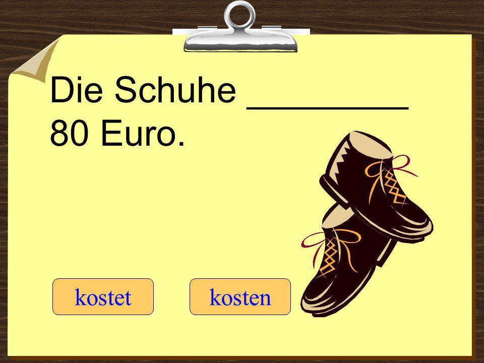 Die Schuhe ________ 80 Euro. kostetkosten