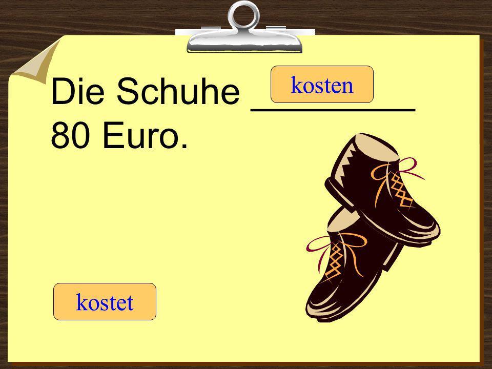 Die Schuhe ________ 80 Euro. kostet kosten