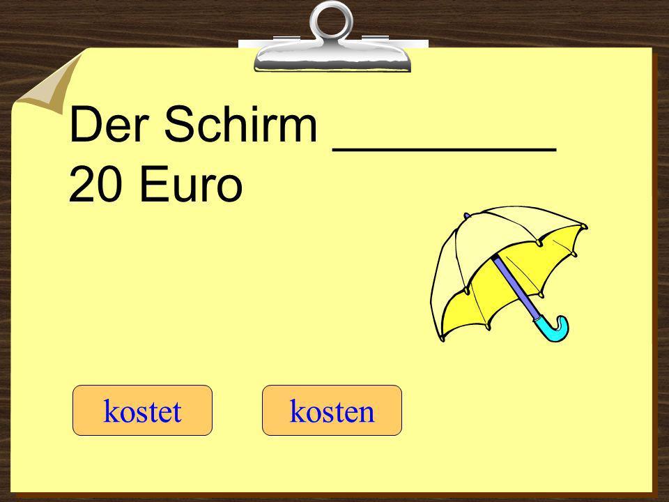 Der Schirm ________ 20 Euro kostetkosten