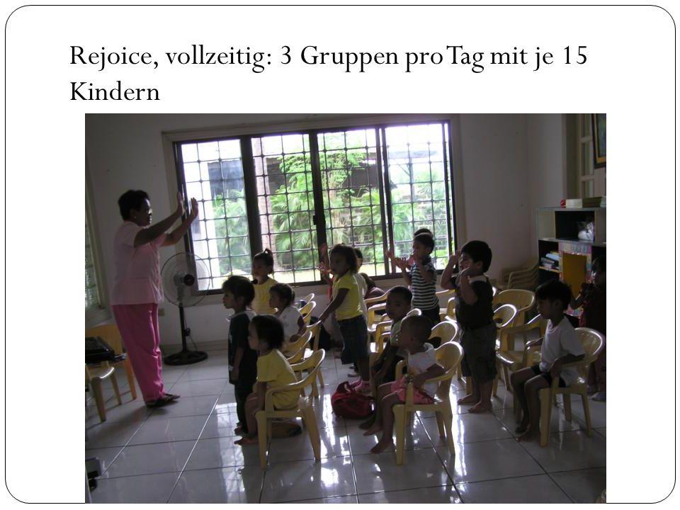 Rejoice, vollzeitig: 3 Gruppen pro Tag mit je 15 Kindern