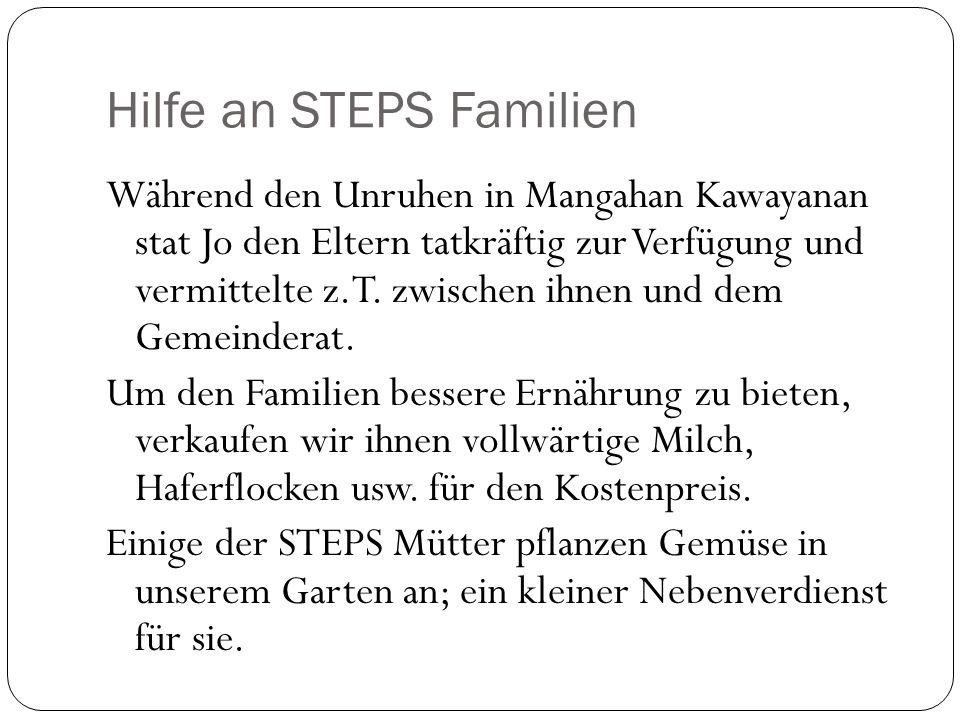 Hilfe an STEPS Familien Während den Unruhen in Mangahan Kawayanan stat Jo den Eltern tatkräftig zur Verfügung und vermittelte z.T.