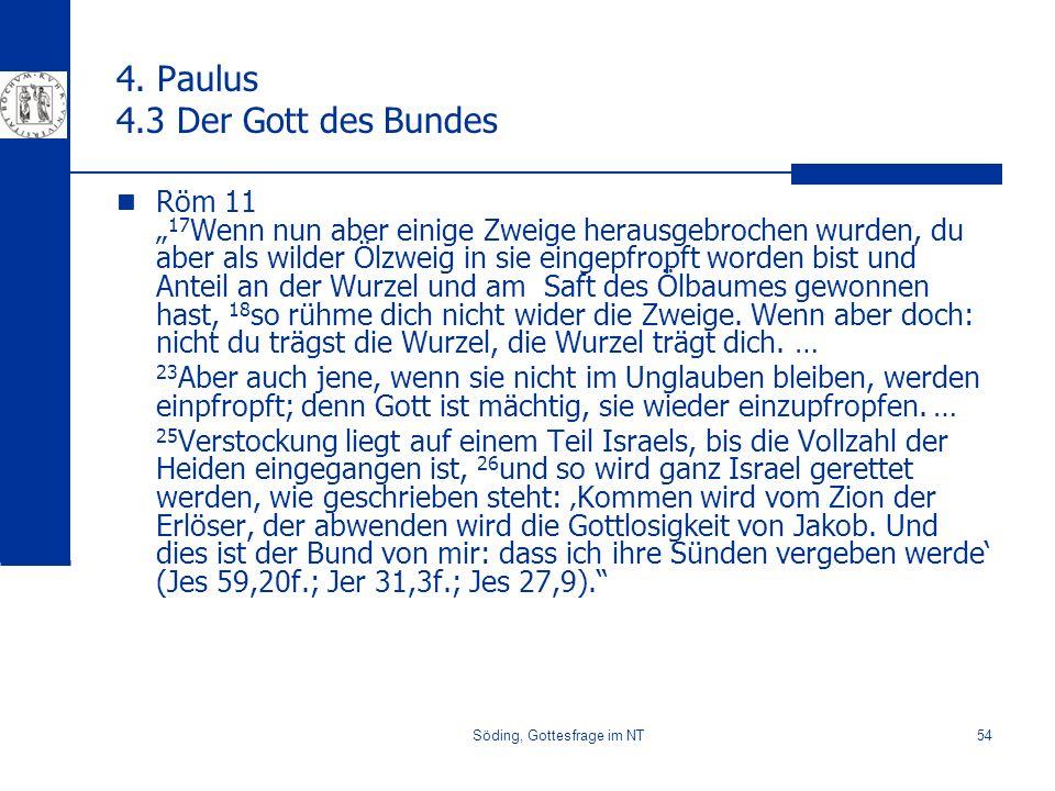 Söding, Gottesfrage im NT54 4. Paulus 4.3 Der Gott des Bundes Röm 11 17 Wenn nun aber einige Zweige herausgebrochen wurden, du aber als wilder Ölzweig