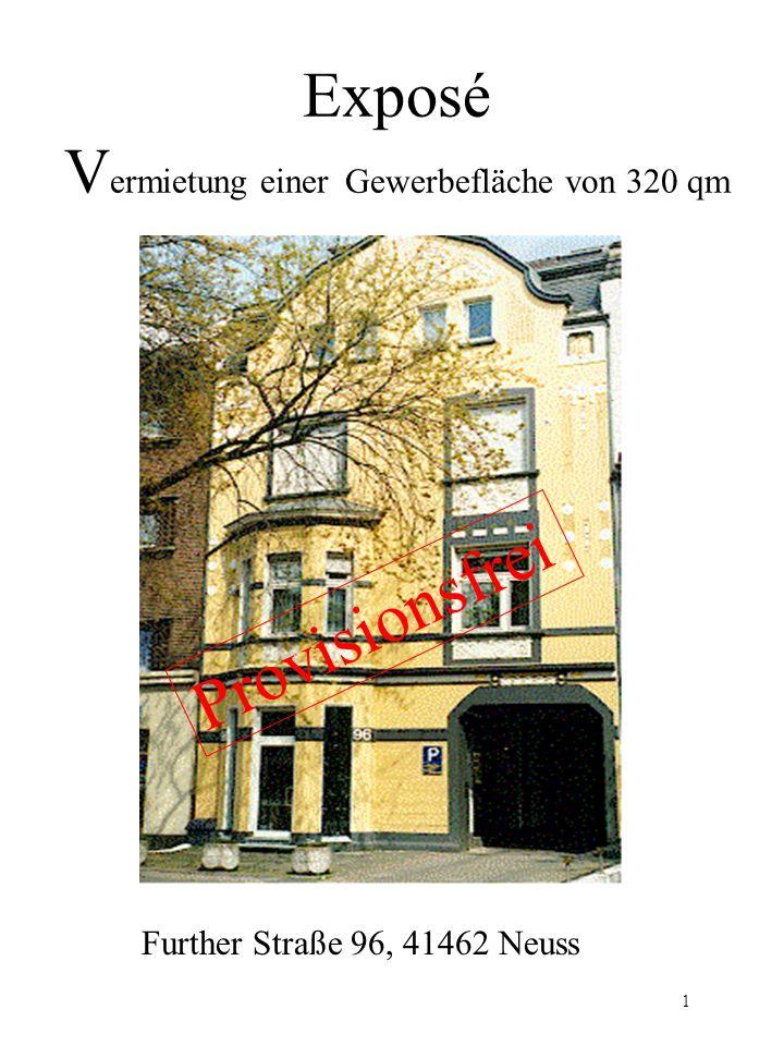 Exposé Gewerbeobjekt Beschreibung Bei diesem Gewerbeobjekt handelt es sich um lichtdurchflutete Räumlichkeiten mit hohen Decken, teilweise Deckengewölbe, in ruhiger Innenhoflage.