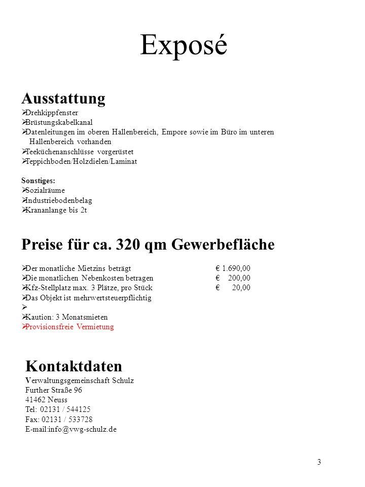 Exposé Kontakt: Verwaltungsgemeinschaft Schulz 4 Untere Bereich Empore Eingangsbereich