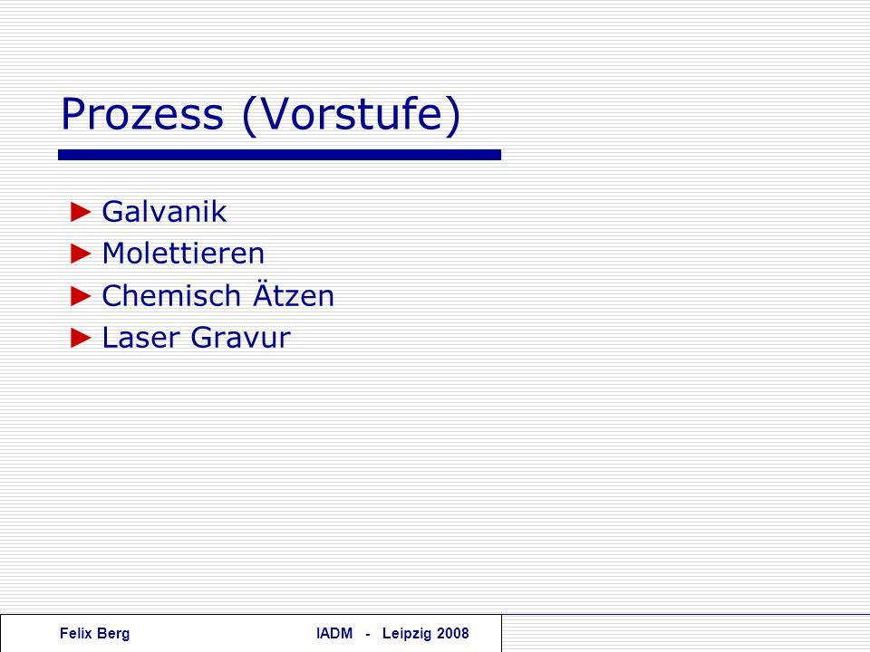 Felix BergIADM - Leipzig 2008 Prozess (Vorstufe) Galvanik Molettieren Chemisch Ätzen Laser Gravur