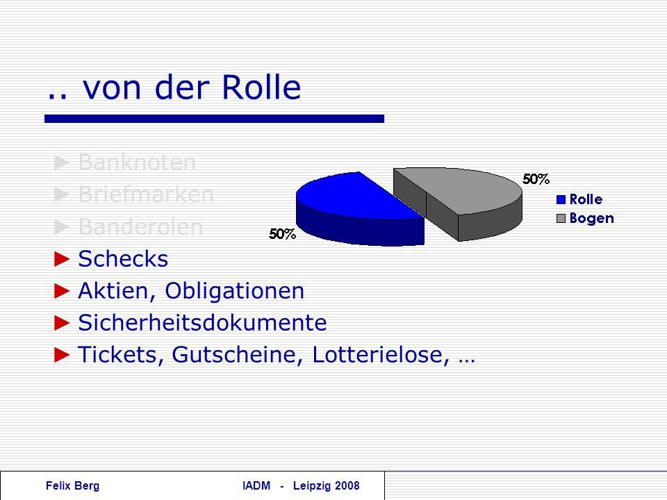 Felix BergIADM - Leipzig 2008.. von der Rolle Banknoten Briefmarken Banderolen Schecks Aktien, Obligationen Sicherheitsdokumente Tickets, Gutscheine,