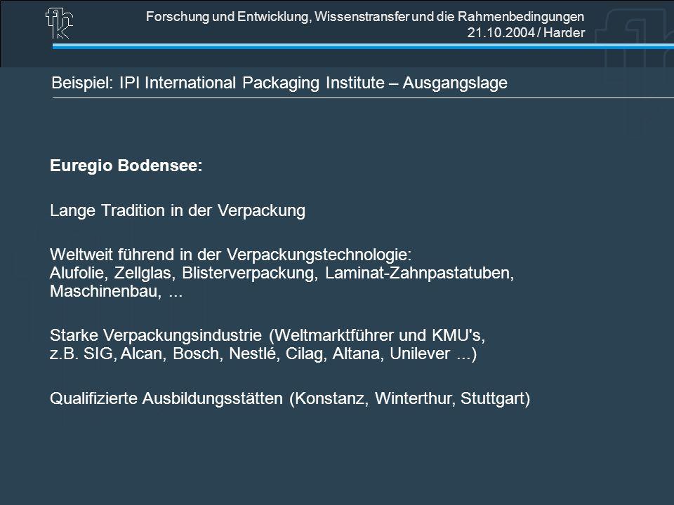 Forschung und Entwicklung, Wissenstransfer und die Rahmenbedingungen 21.10.2004 / Harder Beispiel: IPI International Packaging Institute – Ausgangslag
