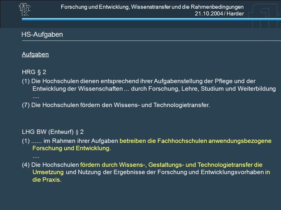 Forschung und Entwicklung, Wissenstransfer und die Rahmenbedingungen 21.10.2004 / Harder HS-Aufgaben Aufgaben HRG § 2 (1) Die Hochschulen dienen entsp