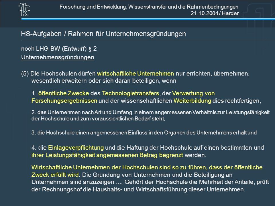 Forschung und Entwicklung, Wissenstransfer und die Rahmenbedingungen 21.10.2004 / Harder HS-Aufgaben / Rahmen für Unternehmensgründungen noch LHG BW (