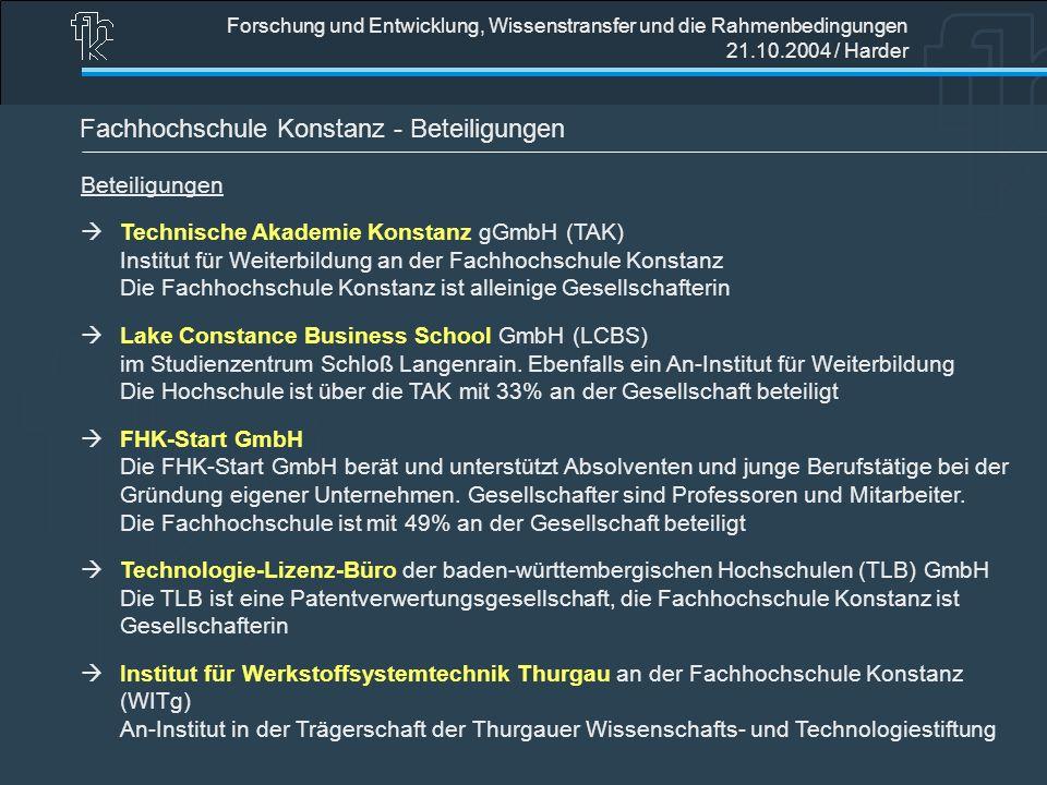Forschung und Entwicklung, Wissenstransfer und die Rahmenbedingungen 21.10.2004 / Harder Fachhochschule Konstanz - Beteiligungen Beteiligungen Technis